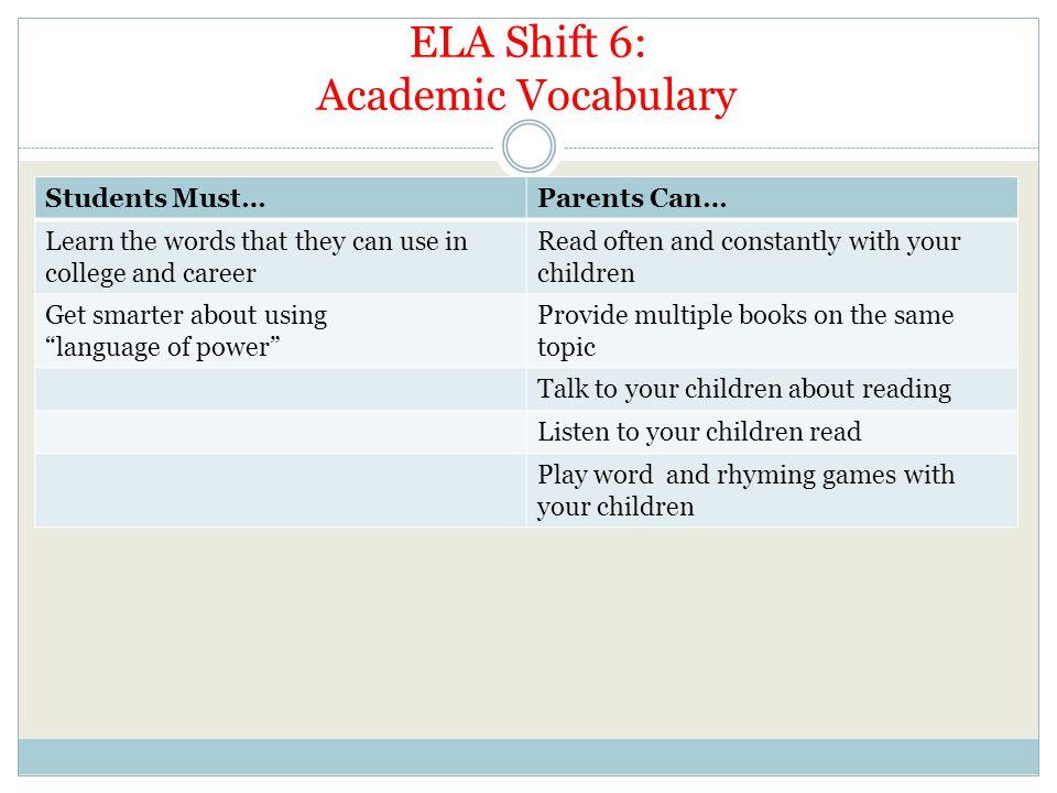 ELA Shift 6: Academic Vocabulary
