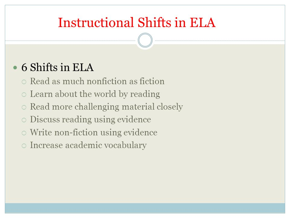 Instructional Shifts in ELA