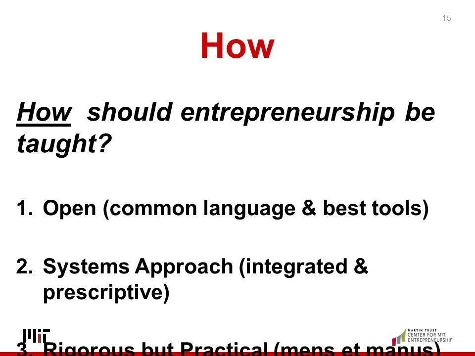 How How should entrepreneurship be taught