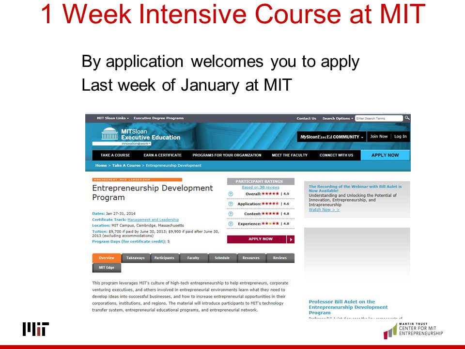 1 Week Intensive Course at MIT