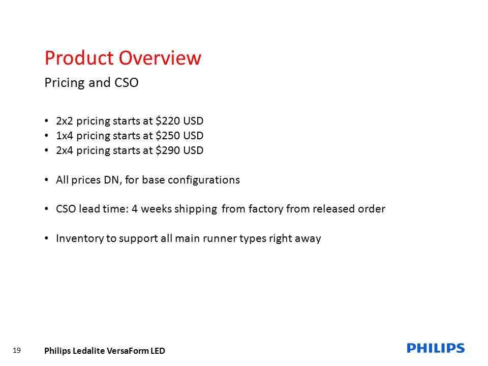 Product Overview Pricing and CSO 2x2 pricing starts at $220 USD