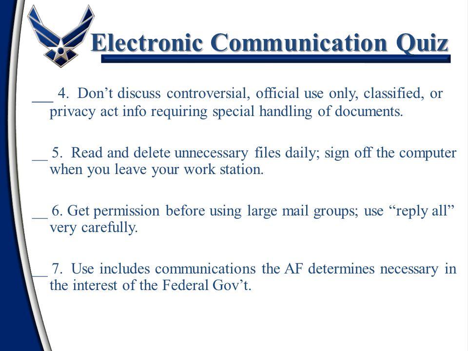 Electronic Communication Quiz