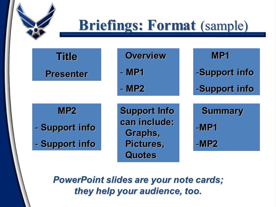 Briefings: Format (sample)