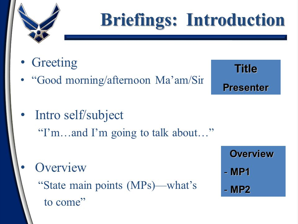 Briefings: Introduction
