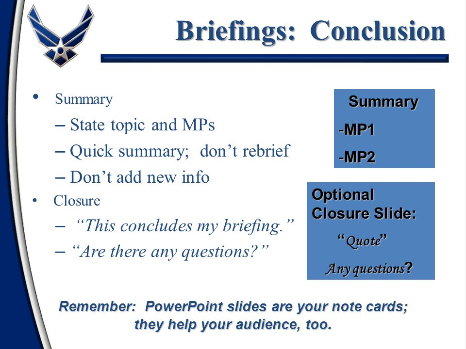 Briefings: Conclusion