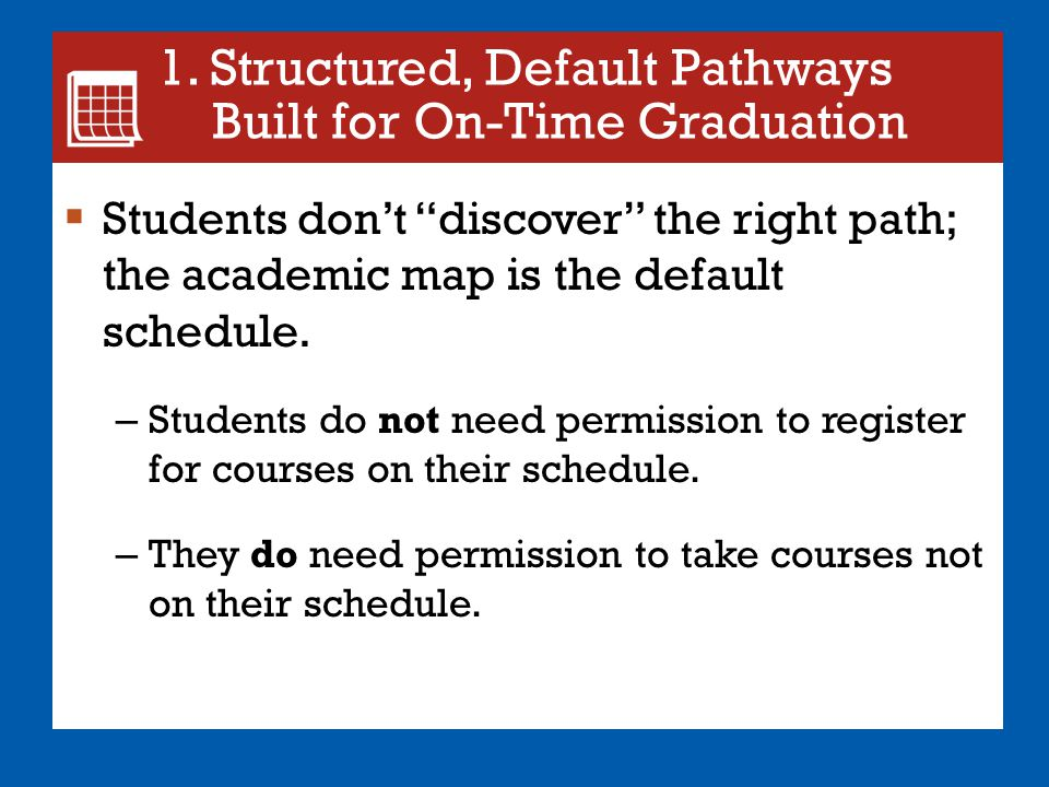 1. Structured, Default Pathways Built for On-Time Graduation