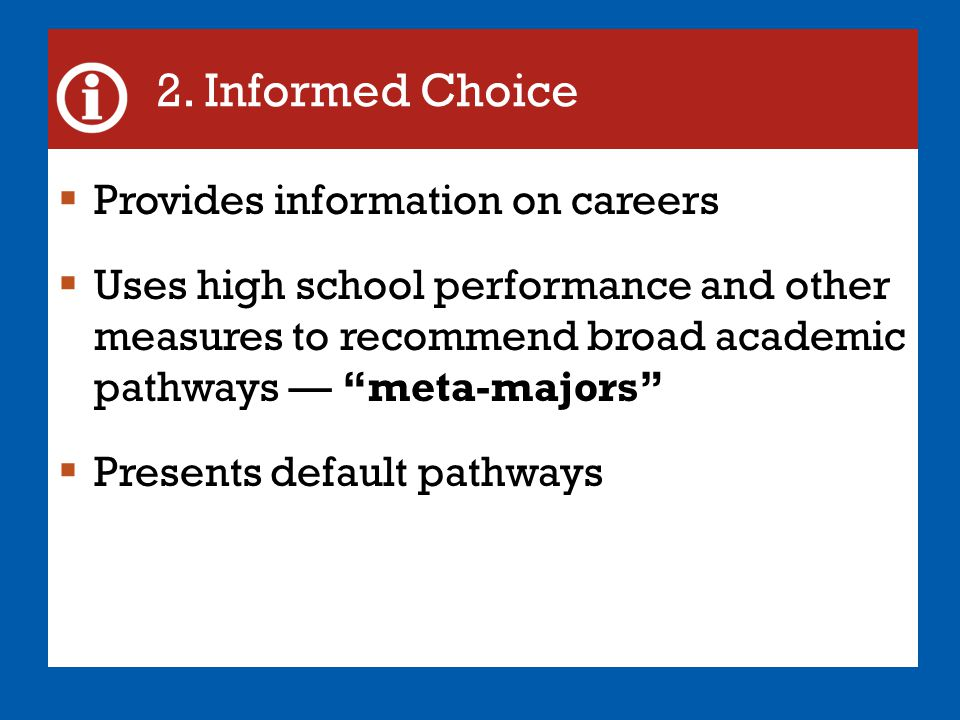 2. Informed Choice Provides information on careers