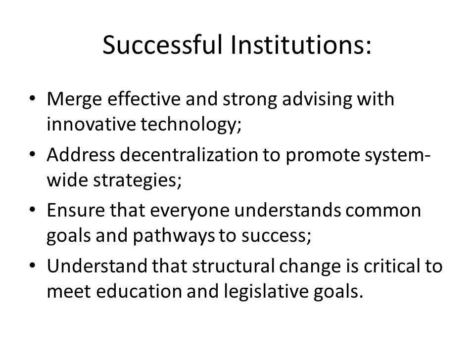 Successful Institutions: