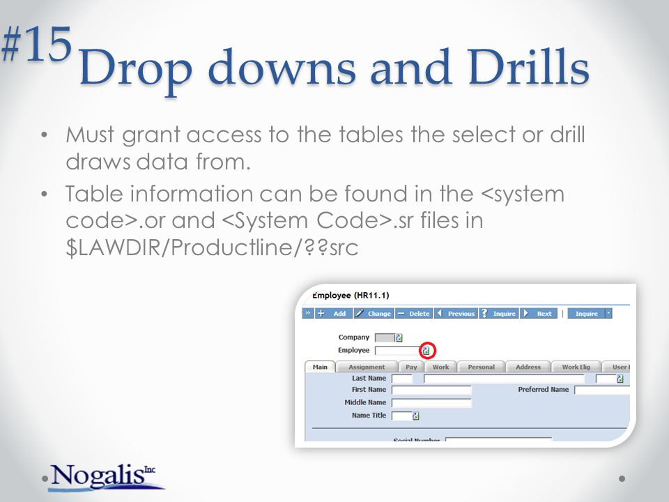 Drop downs and Drills #15. Must grant access to the tables the select or drill draws data from.