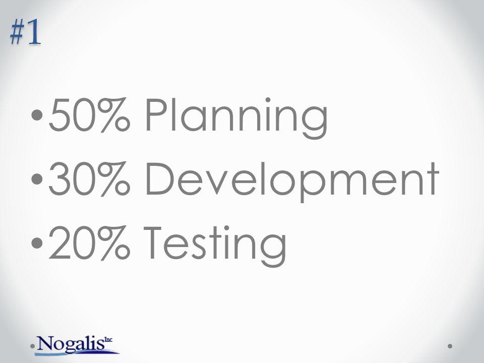 #1 50% Planning 30% Development 20% Testing