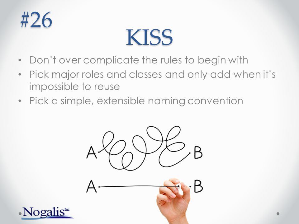 #26 KISS Don't over complicate the rules to begin with