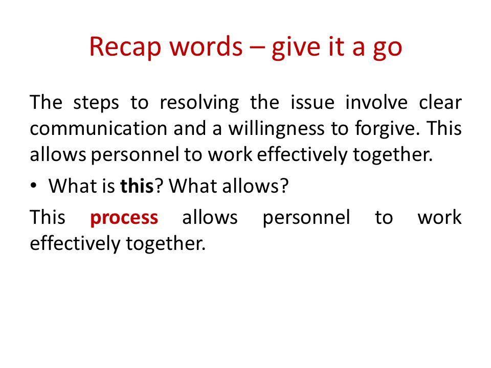 Recap words – give it a go