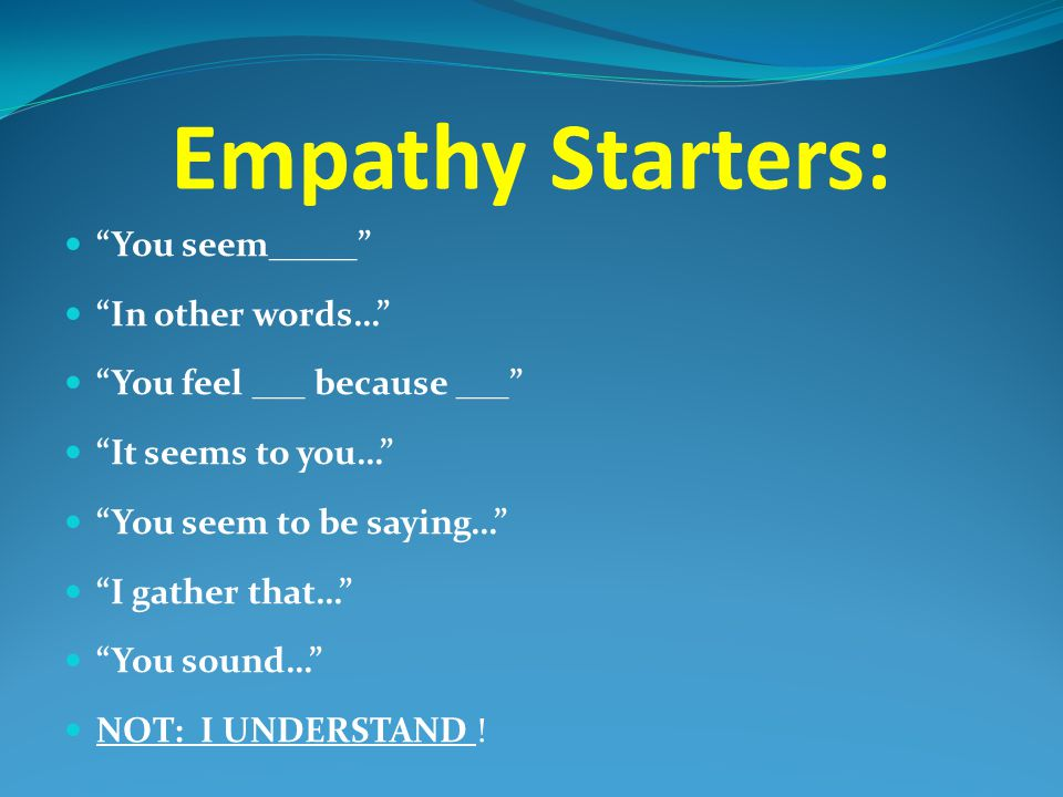 Empathy Starters: You seem_____ In other words…