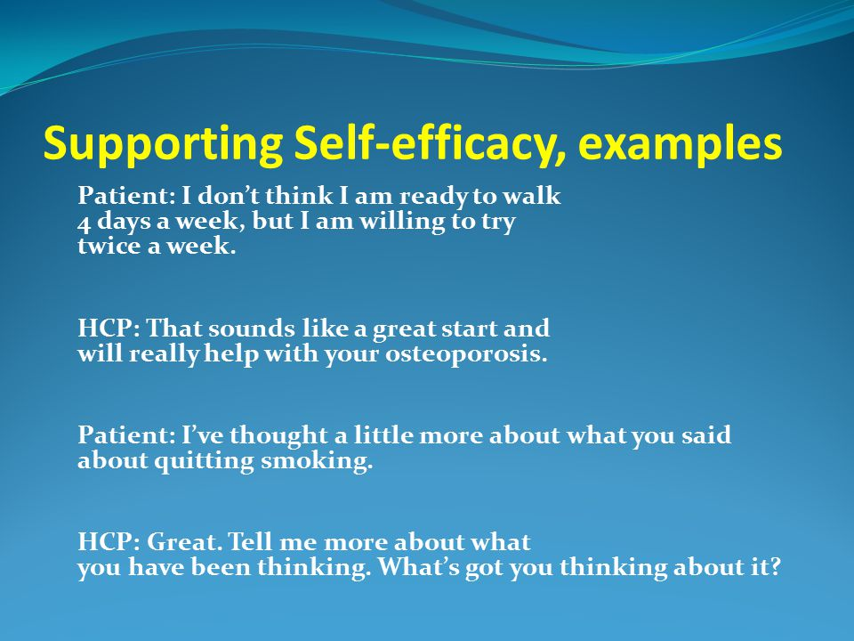 Supporting Self-efficacy, examples