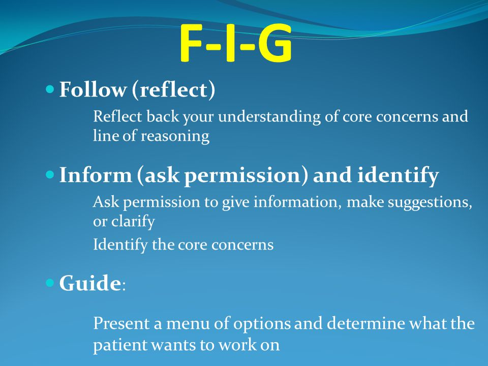 F-I-G Follow (reflect) Inform (ask permission) and identify Guide: