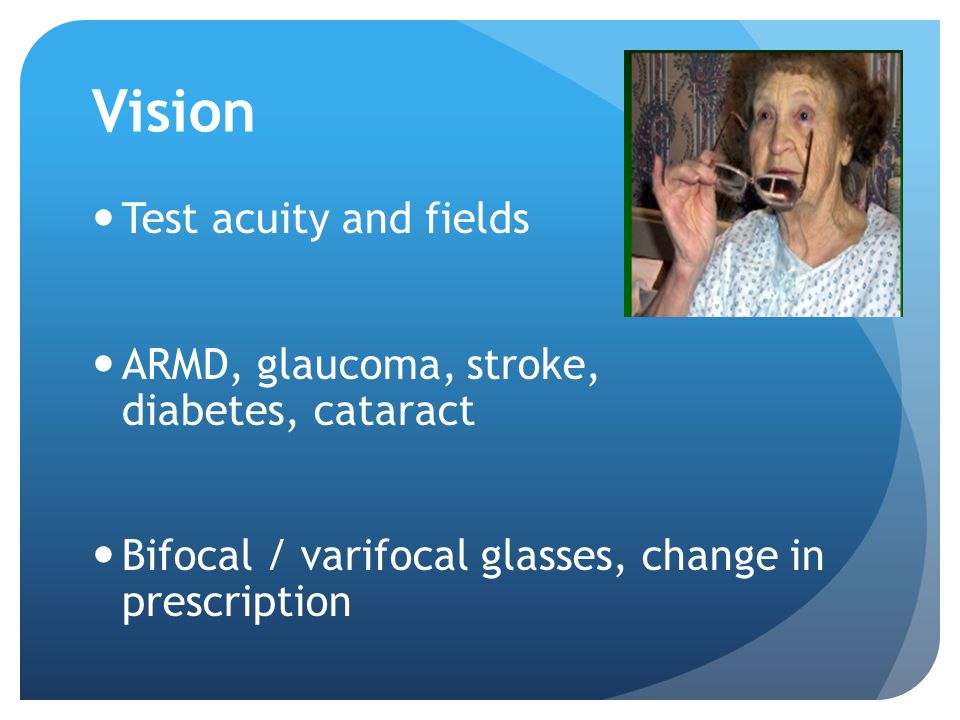 Vision Test acuity and fields
