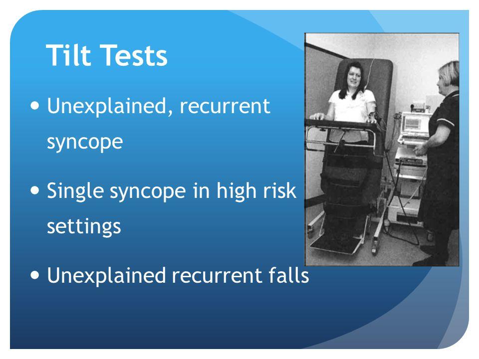 Tilt Tests Unexplained, recurrent syncope