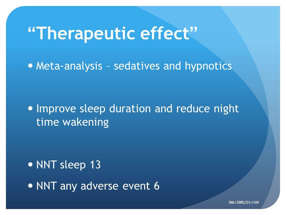 Therapeutic effect Meta-analysis – sedatives and hypnotics