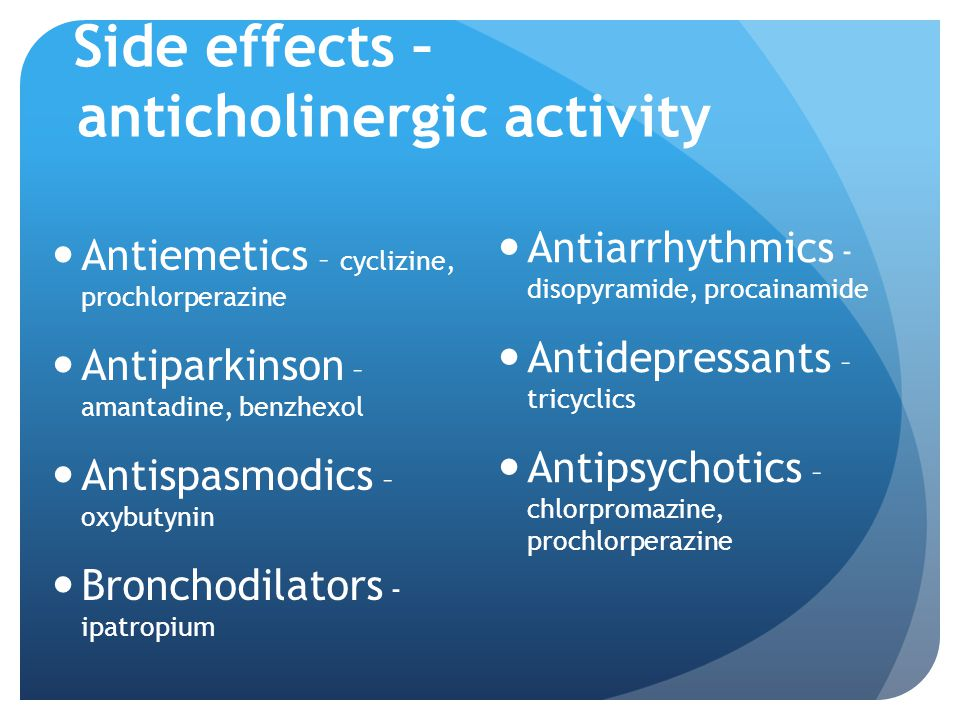 Side effects – anticholinergic activity