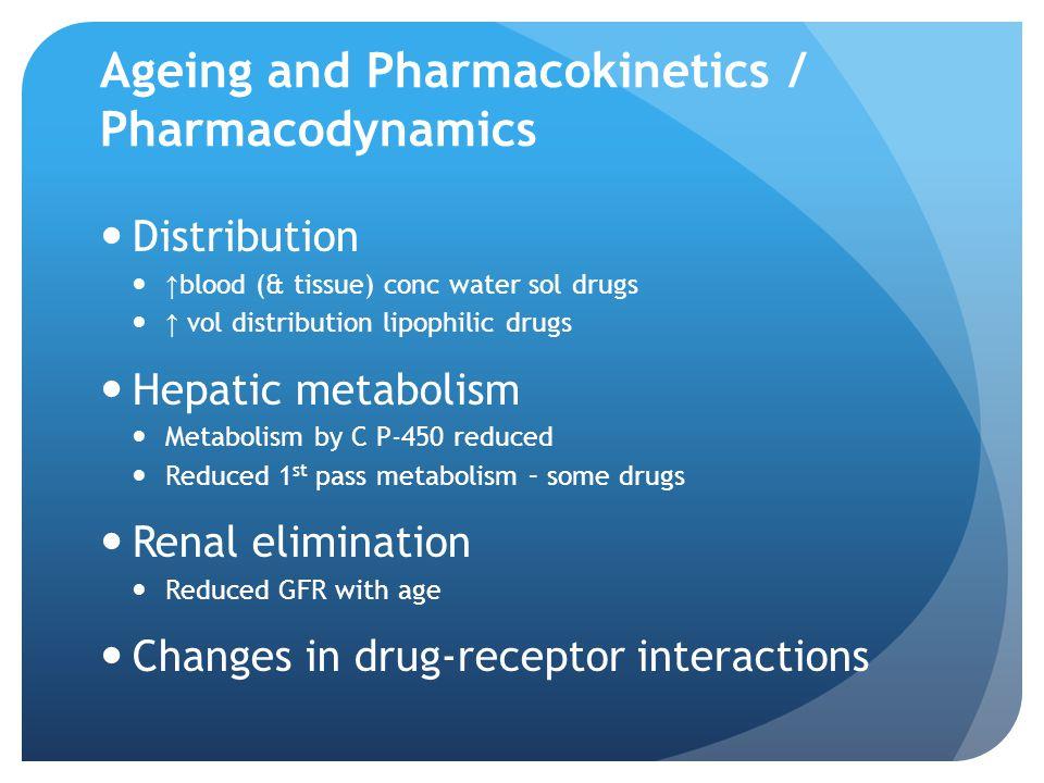 Ageing and Pharmacokinetics / Pharmacodynamics