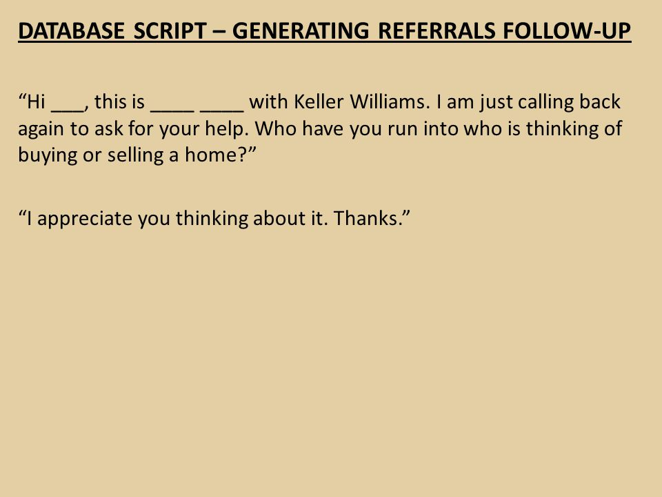DATABASE SCRIPT – GENERATING REFERRALS FOLLOW-UP