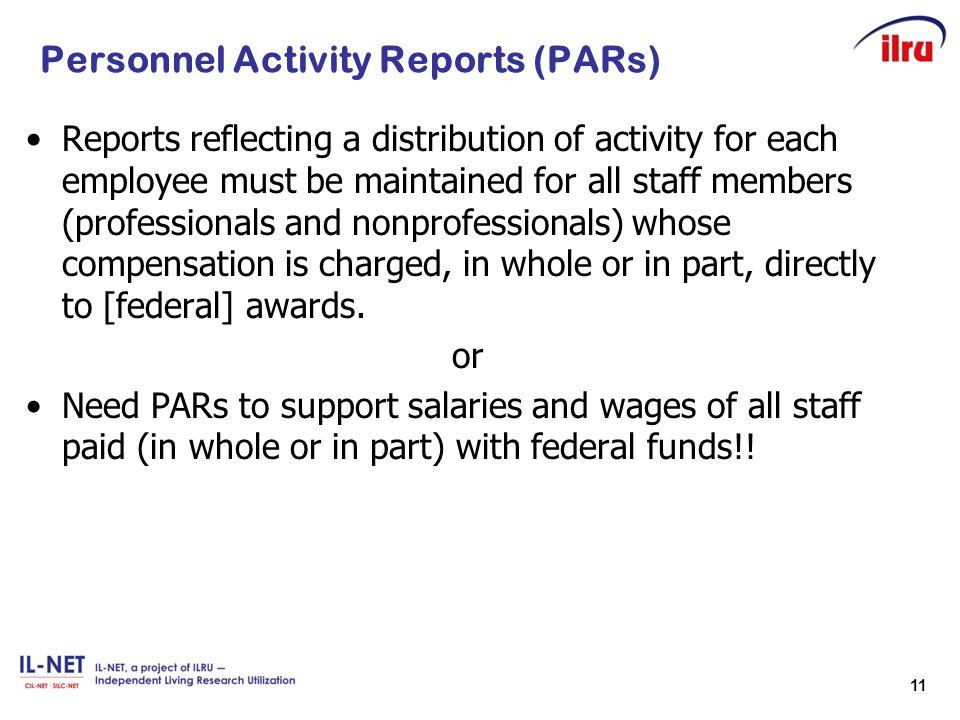 Personnel Activity Reports (PARs)