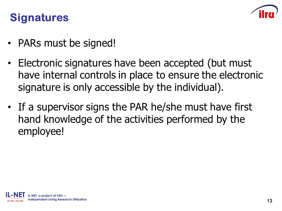 Signatures PARs must be signed!