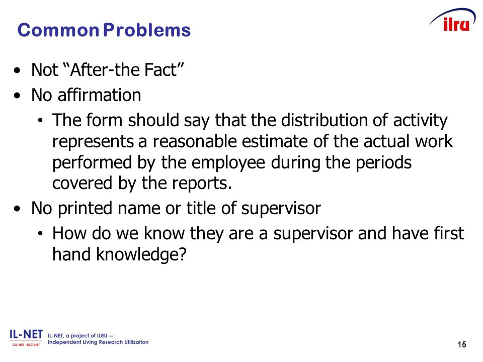 Common Problems Not After-the Fact No affirmation