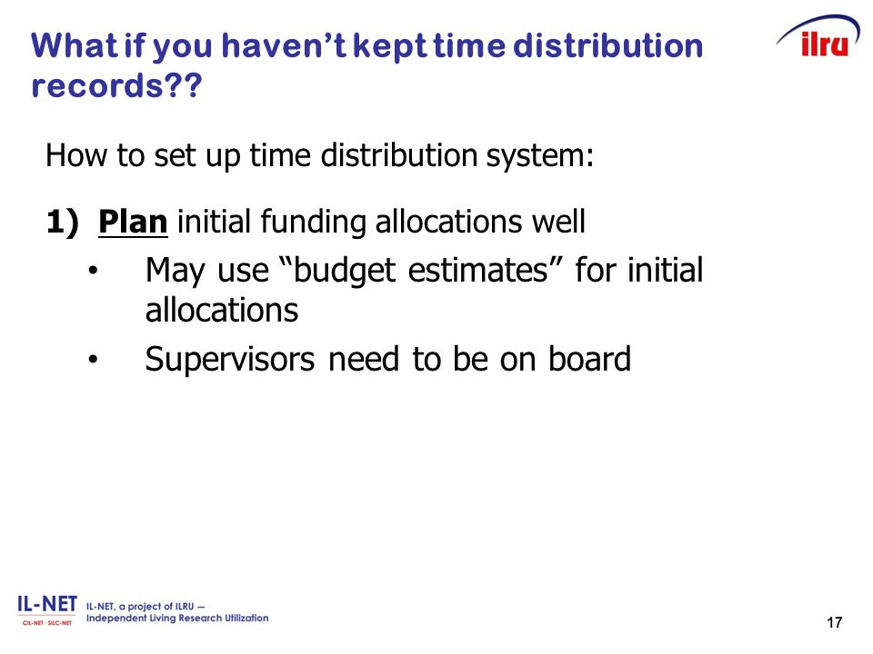 What if you haven't kept time distribution records