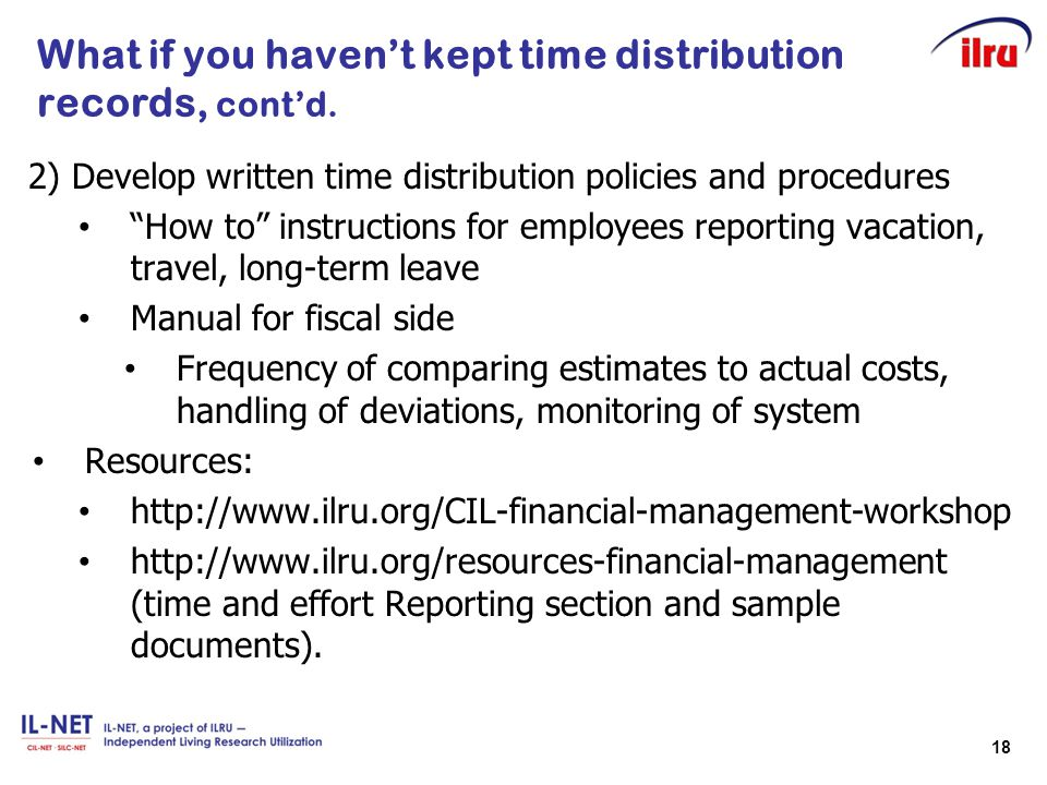 What if you haven't kept time distribution records, cont'd.