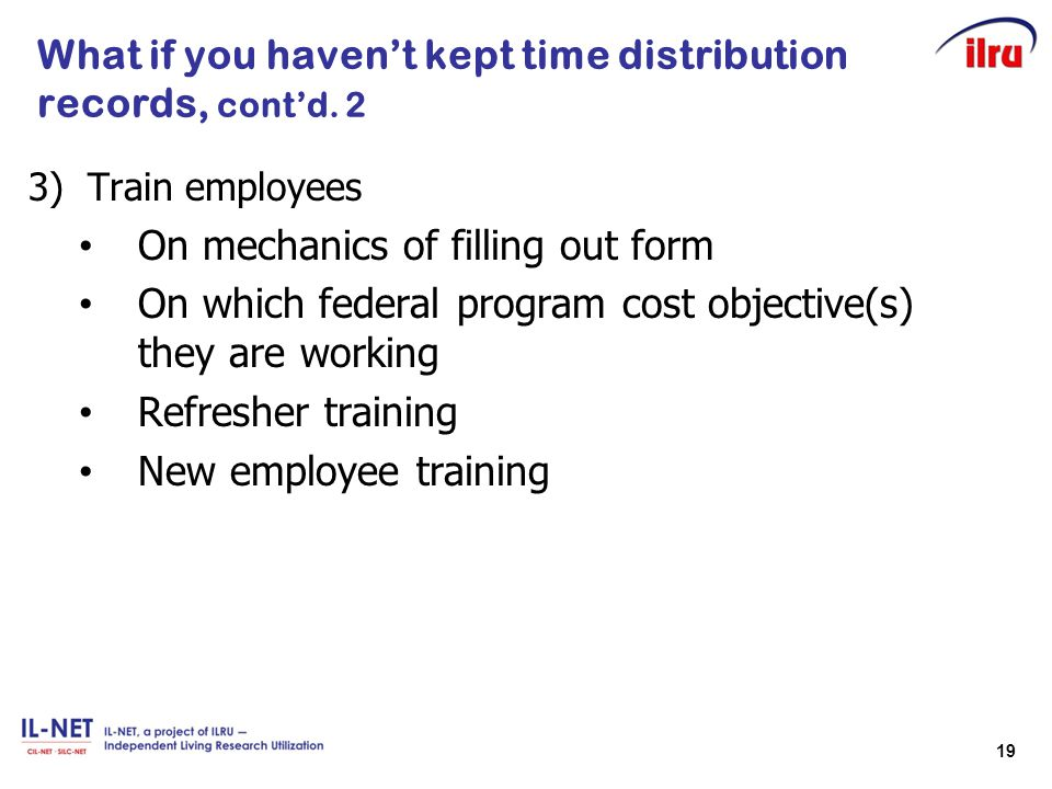 What if you haven't kept time distribution records, cont'd. 2