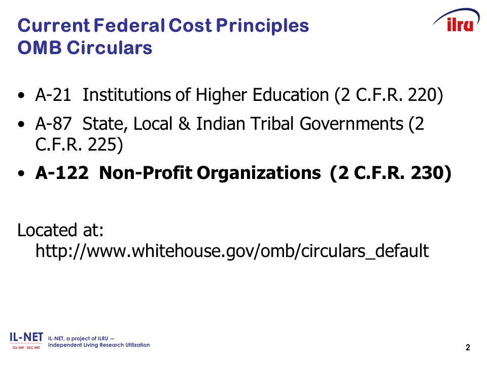 Current Federal Cost Principles OMB Circulars