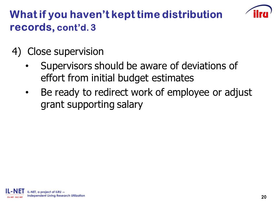 What if you haven't kept time distribution records, cont'd. 3