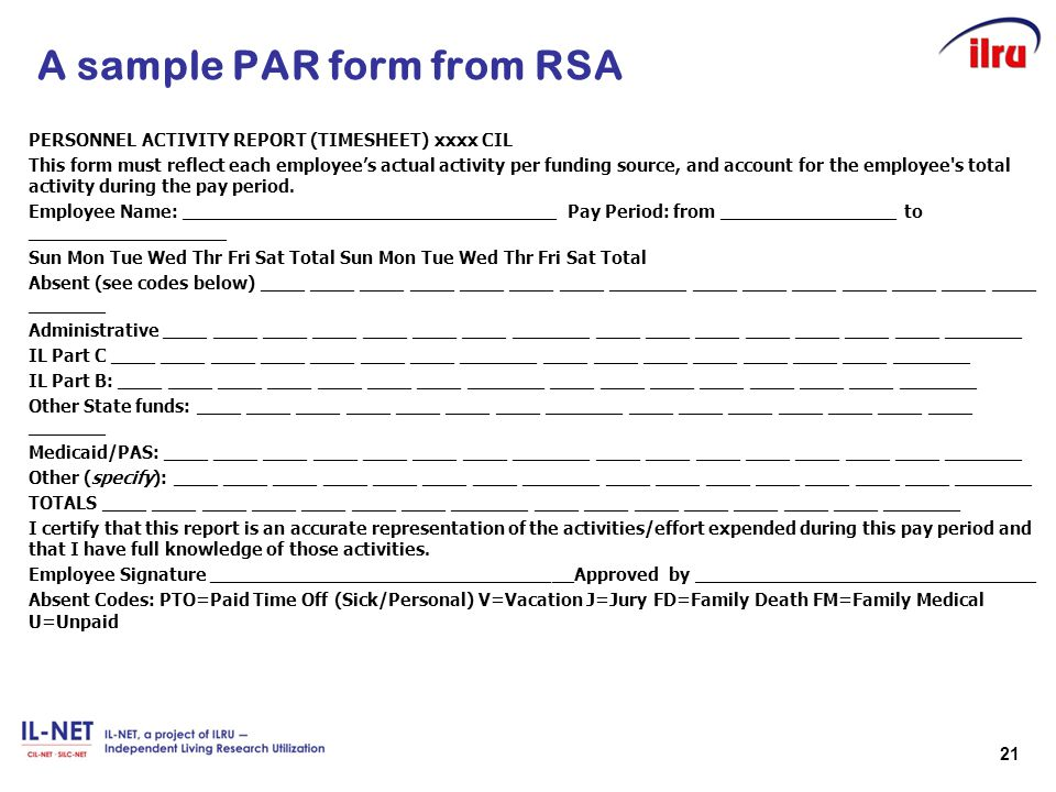 A sample PAR form from RSA