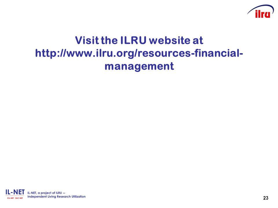 Visit the ILRU website at http://www. ilru