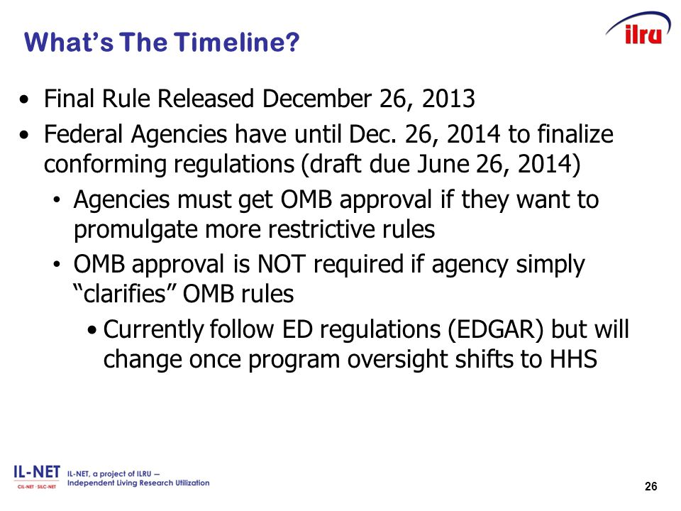 What's The Timeline Final Rule Released December 26, 2013