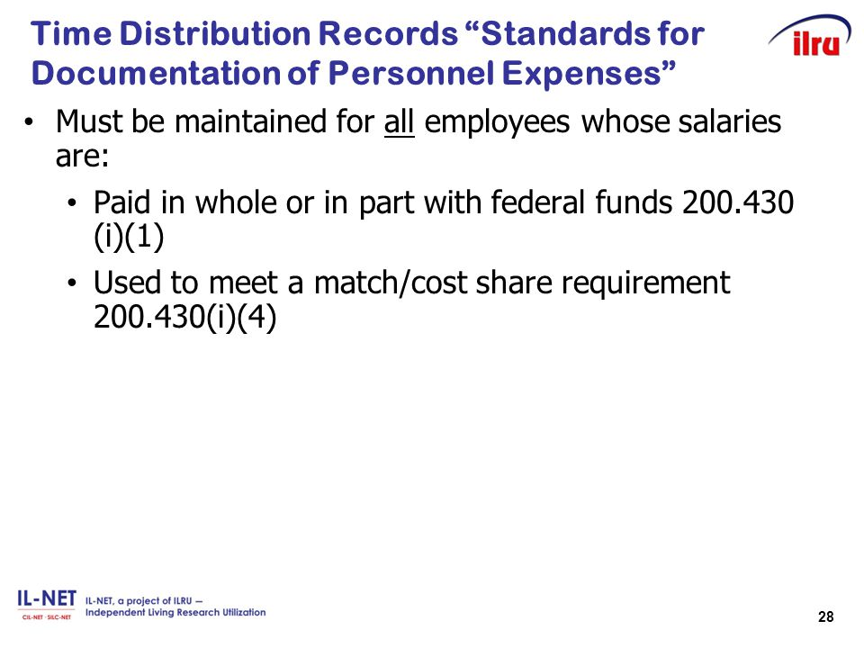 Time Distribution Records Standards for Documentation of Personnel Expenses