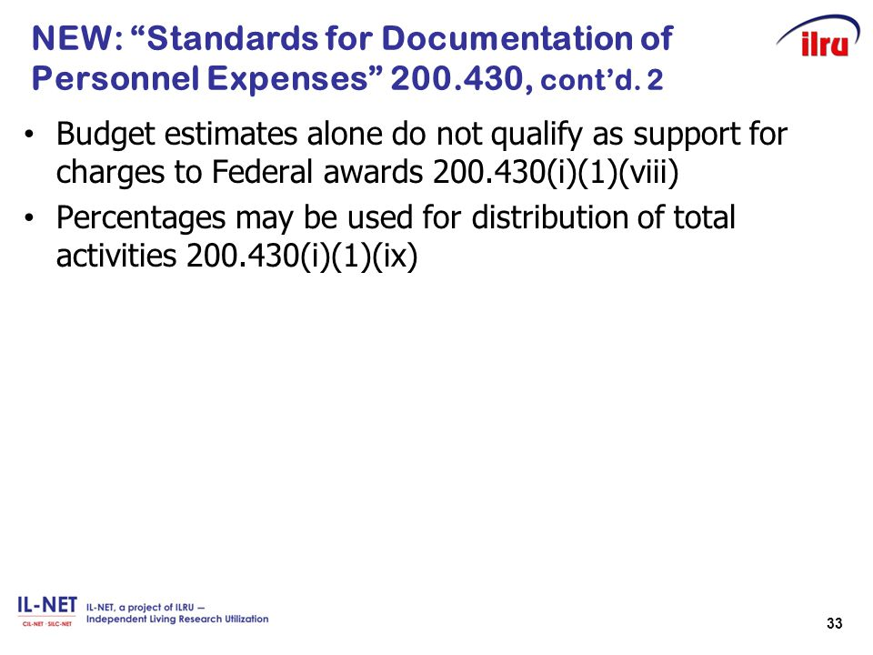 NEW: Standards for Documentation of Personnel Expenses 200