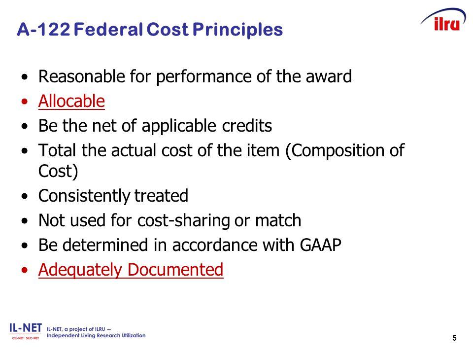 A-122 Federal Cost Principles
