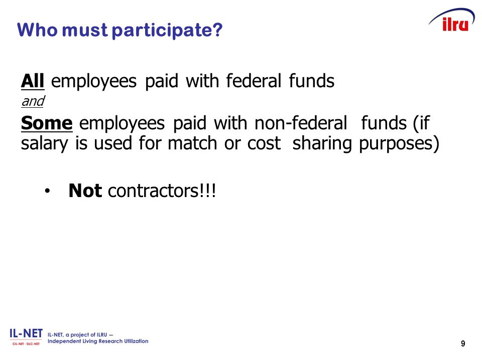 All employees paid with federal funds