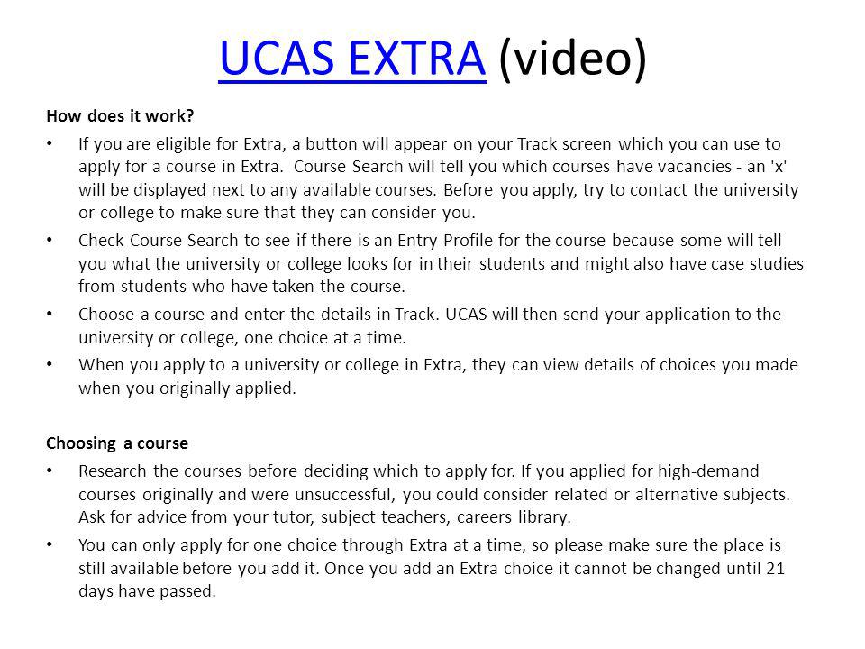 UCAS EXTRA (video) How does it work
