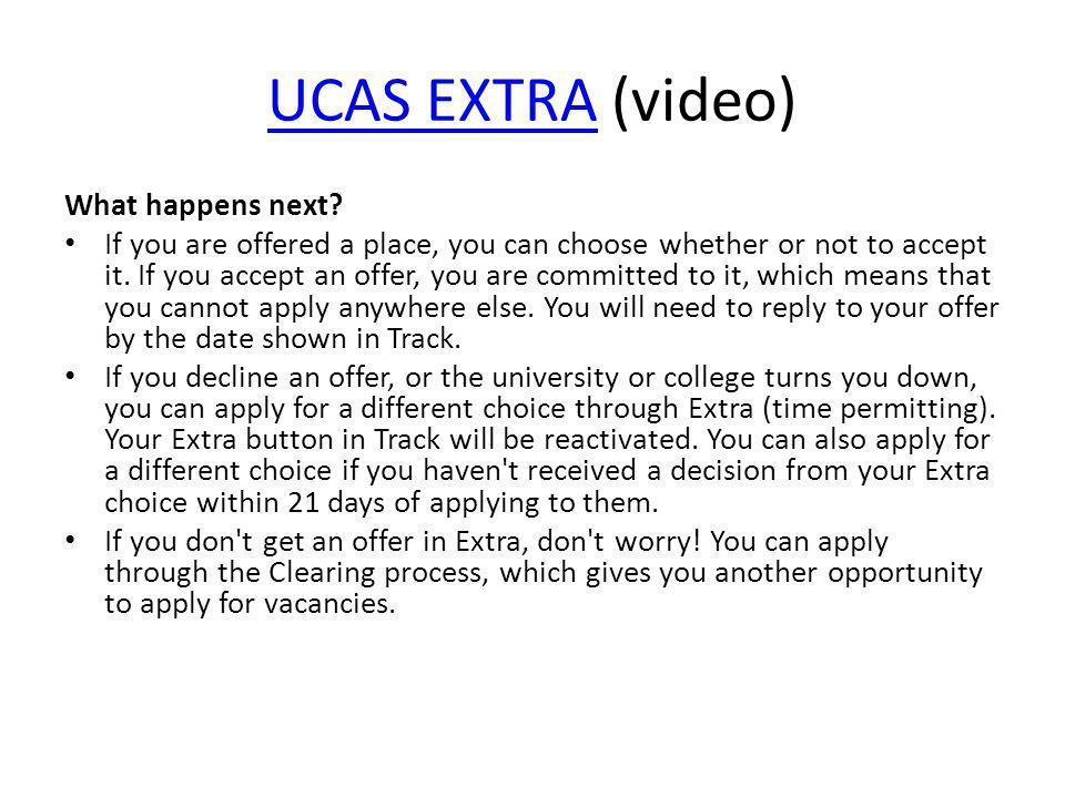 UCAS EXTRA (video) What happens next
