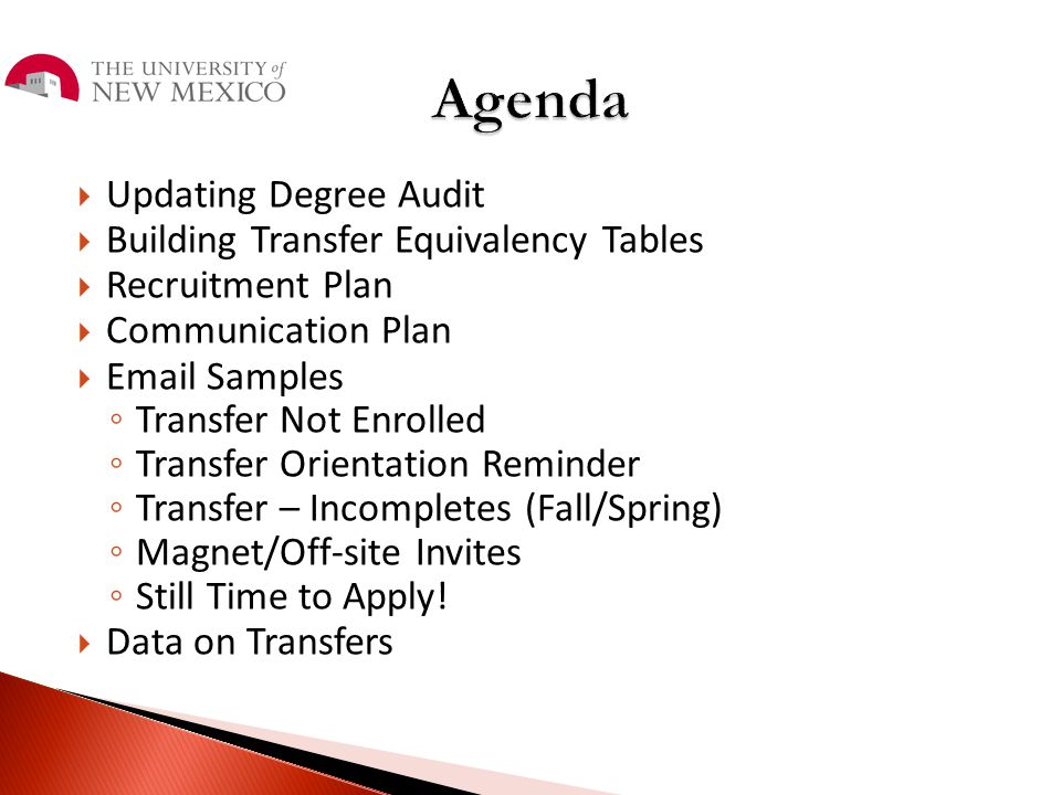 Agenda Updating Degree Audit Building Transfer Equivalency Tables