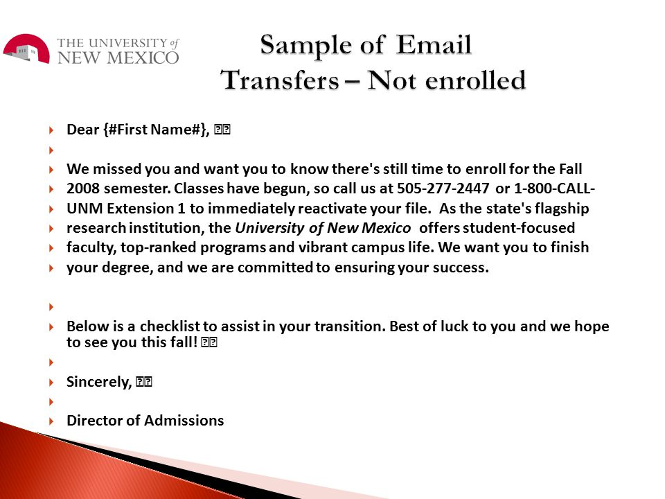 Sample of Email Transfers – Not enrolled
