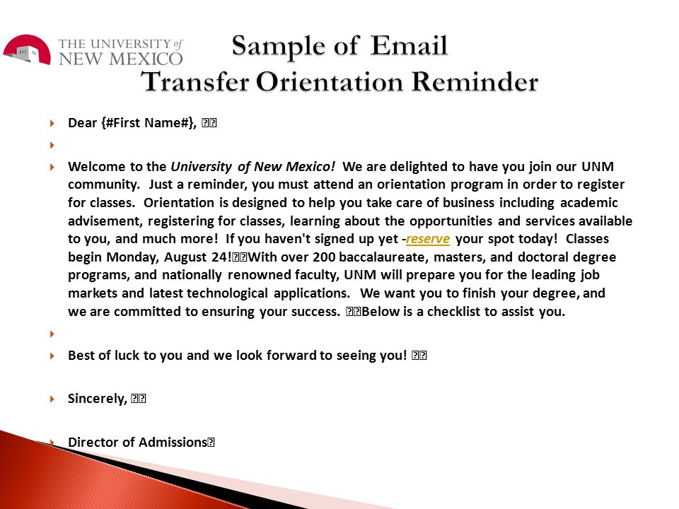 Sample of Email Transfer Orientation Reminder