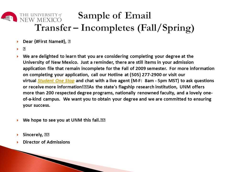 Sample of Email Transfer – Incompletes (Fall/Spring)