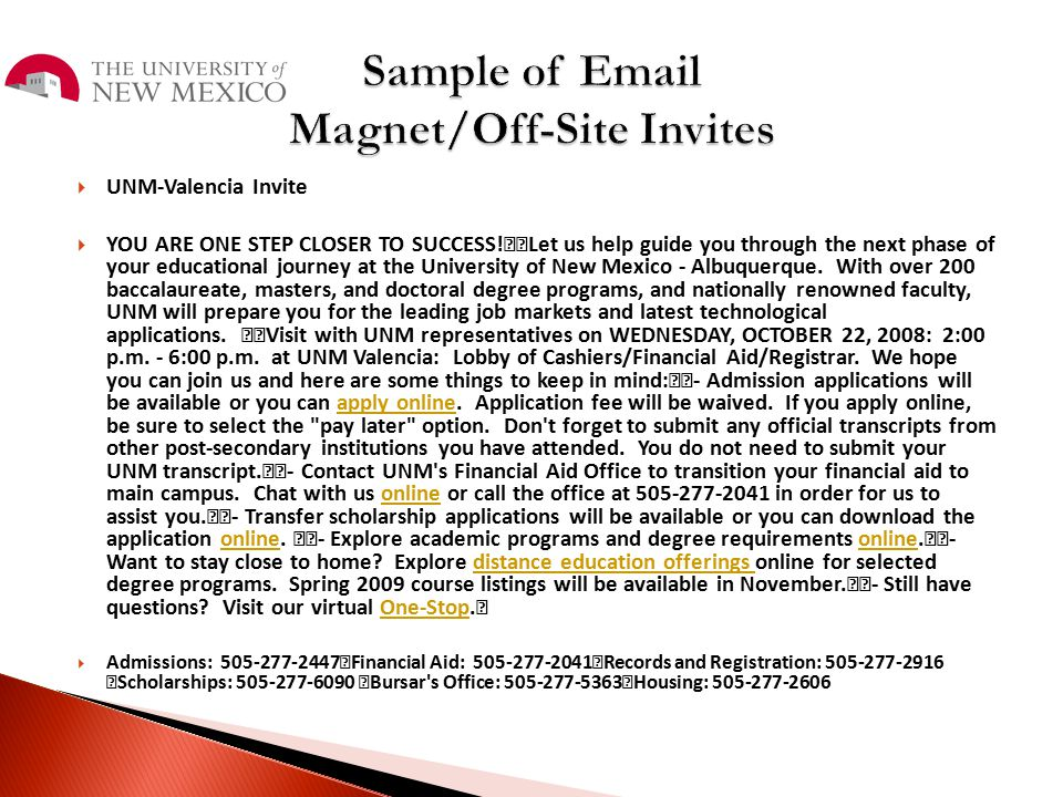 Sample of Email Magnet/Off-Site Invites