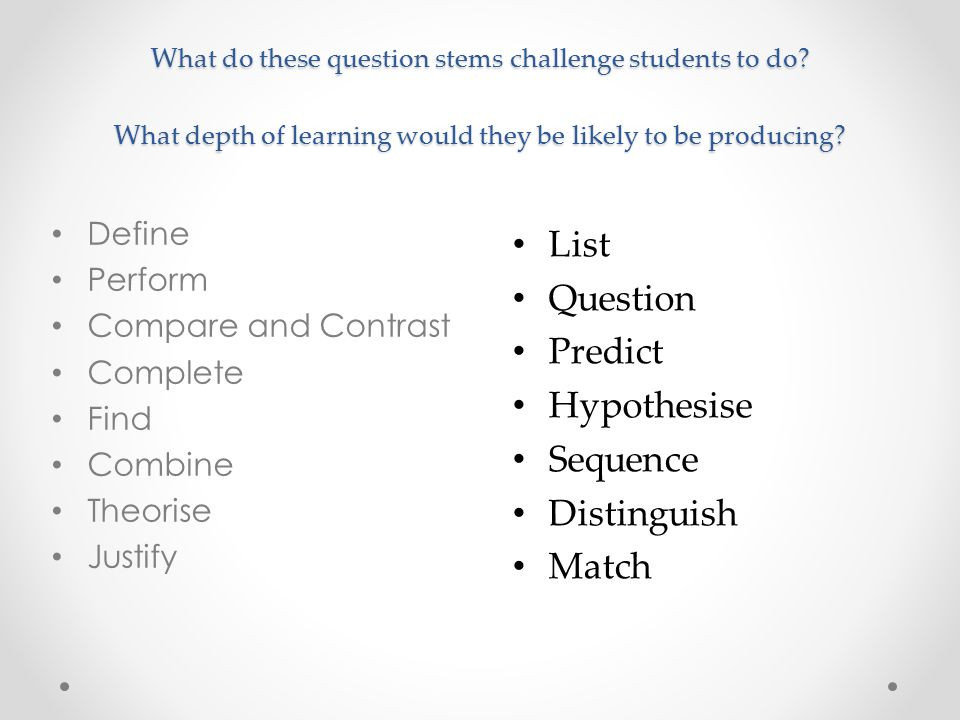 List Question Predict Hypothesise Sequence Distinguish Match Define