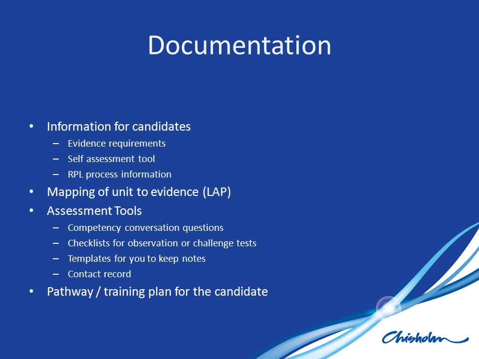 Documentation Information for candidates