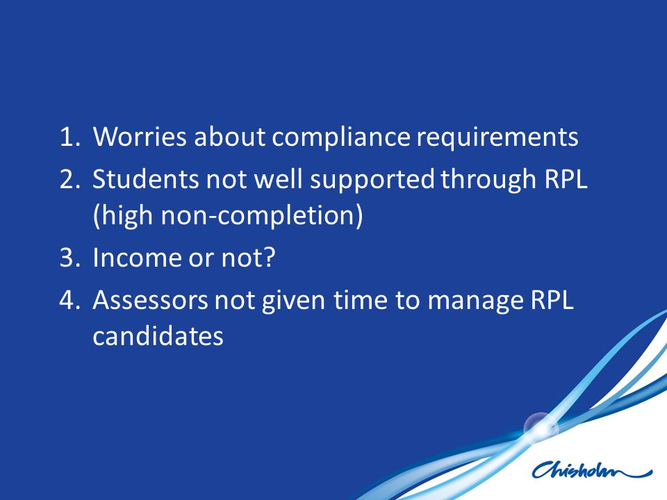 Worries about compliance requirements